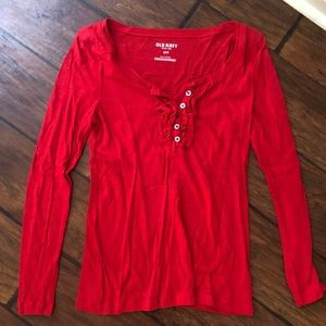 Old Navy Red Long Sleeve Tee w/ Buttons & Ruffles